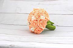 Kytice pre nevestu - VÝPREDAJ! Saténová kytica marhuľová ruže - 9588699_