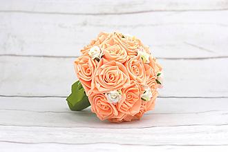 Kytice pre nevestu - Saténová kytica marhuľová ruže - 9588696_