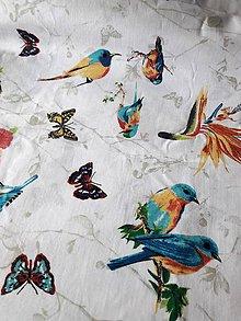 Úžitkový textil - vtáci- motýle - 9591222_