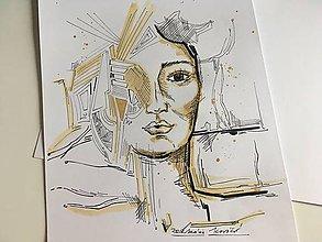 Kresby - Portrét s kávou - 9592877_