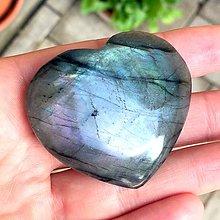 Minerály - Labradorit srdce obojstranný kabošon / 58x54x12 mm, 208,5 Ct., LS201 - 9591529_