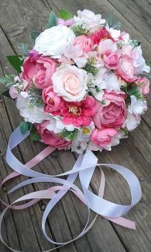 Kytice pre nevestu - Svadobná kytica s pivonkami v ružových odtieňoch - 9592927_