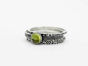 Prstene - 925 sada strieborných prsteňov s olivínom - 9593793_