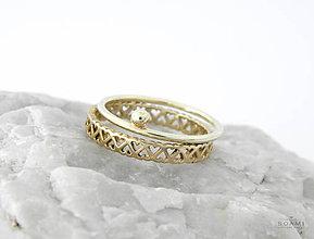 Prstene - 585/1000 zlatý komplet prsteňov - 9593959_