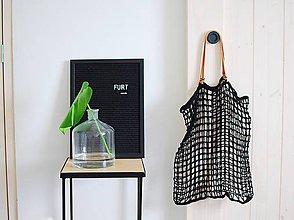 Veľké tašky - Minimalistická sieťka s koženými rúčkami