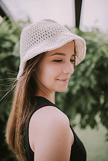 Čiapky - Letný klobúk-100% bavlna-ivory (Modrá) - 9592182_