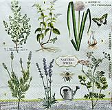 - S1230 - Servítky - bylinky, levandula, herbs, herbár, motýľ - 9592301_