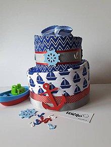 Detské doplnky - Plienková torta - námorník - 9591535_