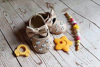 Topánočky - darčekový set pre dieťatko (Béžová) - 9592857_