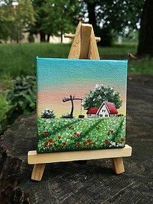 Obrazy - Vlčie maky - miniatúrna maľba - 9592765_