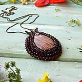 Náhrdelníky - Jaspisový n.7 - šitý náhrdelník - 9591544_