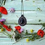 Náhrdelníky - Black&Hematite - šitý náhrdelník - 9591602_