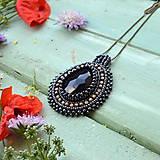 Náhrdelníky - Black&Hematite - šitý náhrdelník - 9591603_