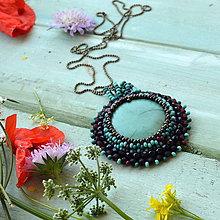 Náhrdelníky - Tyrkysový n.2 - šitý náhrdelník - 9591578_