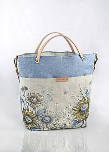 """Kabelky - Veľká ľanová kabelka s ručnou maľbou """"SunFlorie"""" - 9592161_"""