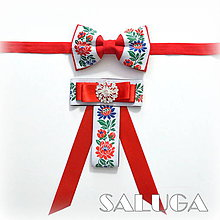 Doplnky - Set pre pár/ pánsky a dámsky motýlik - folklórny - červený - 9593821_