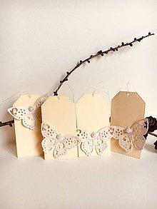 Papiernictvo - Darčekové menovky, visačky - motýľ - 9594474_