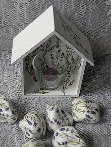 Drobnosti - Romantický domeček se svícnem - levandulky - 9593925_