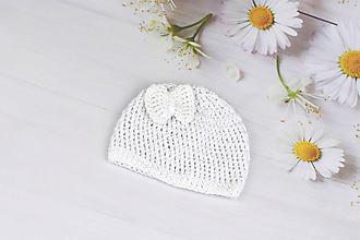 Detské čiapky - Biela letná čiapka EXTRA FINE (s mašličkou) - 9592494_