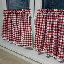 Úžitkový textil - Červené káro - dekoračný záves na okno 120x48 - 9594182_