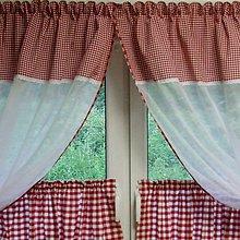 Úžitkový textil - Červené káro - dekoračná záclona na okno 138x130 - 9594336_