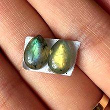 Minerály - Labradorit kabošony slza pár / 10x7x4 mm, 5.35 Ct., LP001 - 9594913_