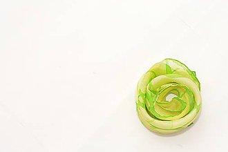 060b32a0d Šatky - Žltozelená hodvábna šatka so zeleným okrajom. - 9595200_