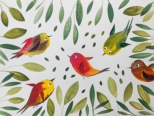 Vtáčiky ilustrácia / originál maľba