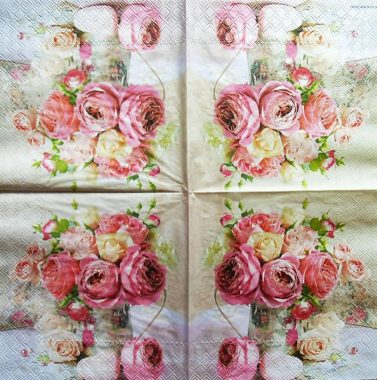 7d555bdc546 S1231 - Servítky - ruža, kytica, váza, vintage, roses, shabby chic ...