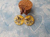 Náušnice - Ružičky v žltej - 9596551_