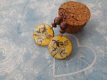 Náušnice - Ružičky v žltej - 9596552_