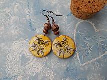 Náušnice - Ružičky v žltej - 9596557_