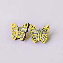 Náušnice - motýle ~ napichovačky (žlté) - 9596803_
