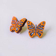 Náušnice - motýle ~ napichovačky (oranžové) - 9596805_