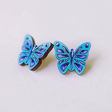 Náušnice - motýle ~ napichovačky (modré) - 9596806_