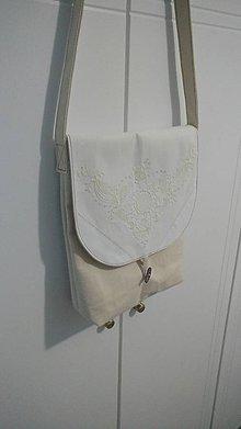 Veľké tašky - Vidiecka ľanová taška s výšivkou - 9596893_