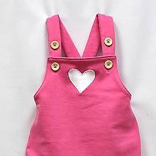 Detské oblečenie - Ružové tepláky na traky so srdiečkom - 9597271_