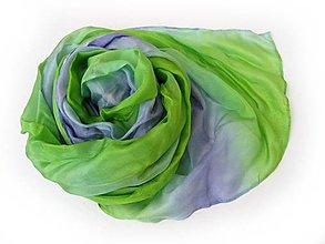 Šály - fialovo-zelený hodvábny šál skladom:-) - 9595048_