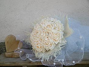 Dekorácie - svadobná kytica: z ruží ako vanilka - 9599301_