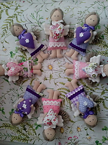 Dekorácie - levanduľové MINI anjeliky - 9597693_