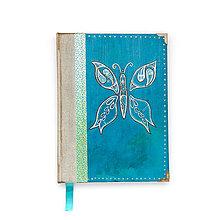 Papiernictvo - Ručne šitý kreslený diár/denník/notes/zápisník Vintage motýľ (A5) - 9597387_