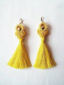 Náušnice - Žlté šujtášové náušnice Swarovski s hodvábnym strapcom :) - 9597520_