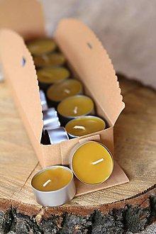 Drobnosti - Čajová sviečka zo včelieho vosku - 9598156_