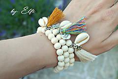 """Náramky - """"Bohochic"""" náramky z drevených korálok (maslová farba) (béžový strapec,kvetinka) - 9598943_"""