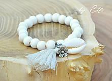 """Náramky - """"Bohochic"""" náramky z drevených korálok (maslová farba) (béžový strapec,kvetinka) - 9598947_"""