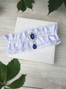 Bielizeň/Plavky - Luxusný svadobný podväzok modrá brošňa - 9597549_