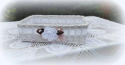 Košíky - Svadobný košík saténový kvietok - 9598749_