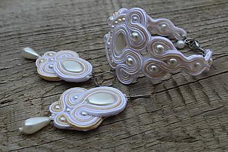 Sady šperkov - súprava šujtáš biela (šujtášová súprava bielo-béžová) - 9600672_