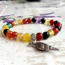 Náramky - Colorfull Carnelian & Shell Bracelet / Elastický náramok farebný karneol a lastúra - 9600164_