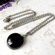 Náhrdelníky - Black Agate Necklace (Stainless Steel) / Náhrdelník s čiernym achátom (Chirurgická oceľ) /0186 - 9602058_